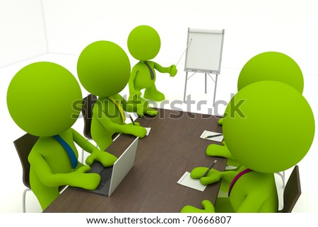 Illustration of a business meeting with a man presenting a flipchart.  Part of my cute green man series. - stock photo