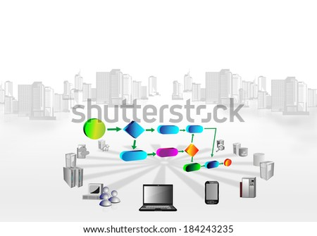 Illustration of a business process connecting various systems across different enterprise business and systems. - stock photo