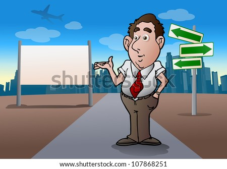 illustration of a business salesman try sale this city  in front of city blank board you can write anything - stock photo