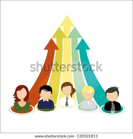 Illustration of a business team and teamwork concept. - stock photo