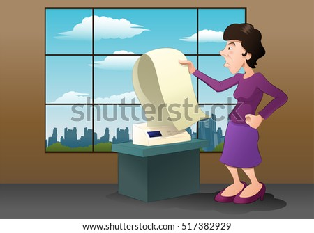illustration of a business woman pull a empty fax paper from a fax machine on office background