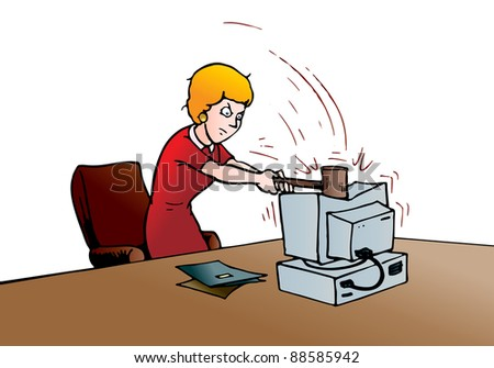 illustration of a business woman with hammer destroying computer in the office