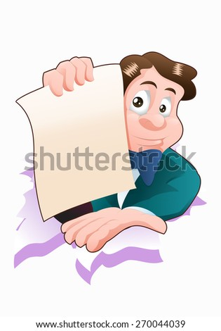 illustration of a businessman blank paper application on isolated white - stock photo