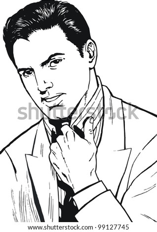 illustration of a businessman, drawn in comic style