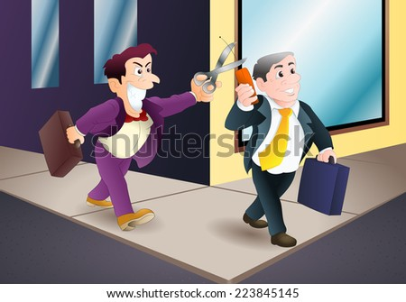 illustration of a businessman hold cellphone ready to be sabotage - stock photo