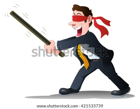 illustration of a businessman hold stick try to hit something on isolated white background - stock photo