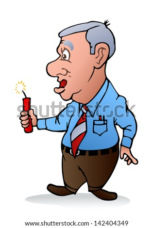 illustration of a businessman holding a dynamite ready to blow on isolated white background - stock photo