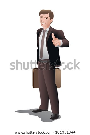 illustration of a businessman in thumb up pose isolated on white background