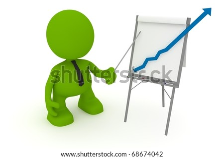 Illustration of a businessman presenting at a flip chart showing a positive trend going off the chart.  Part of my cute green man series.