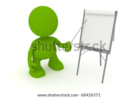 Illustration of a businessman presenting at a flipchart.  Part of my cute green man series. - stock photo