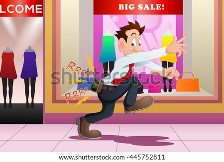 illustration of a businessman scare with busy telephone tone from boss - stock photo