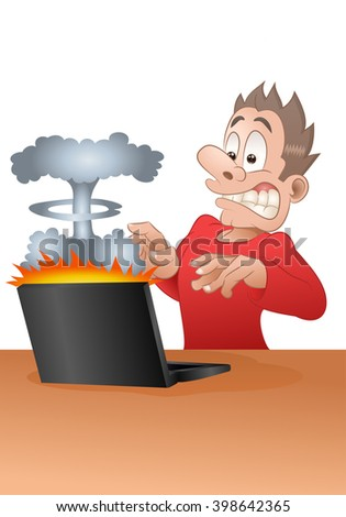 illustration of a businessman shock from explode laptop in isolated white background - stock photo