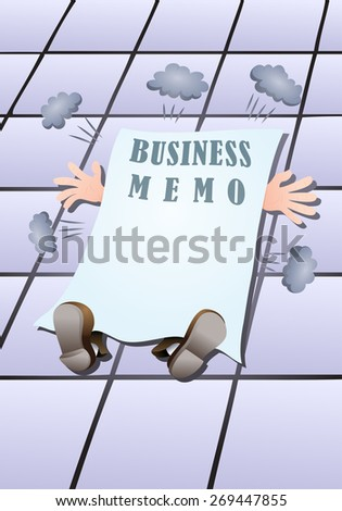 illustration of a businessman struck down by  business memo to finished - stock photo