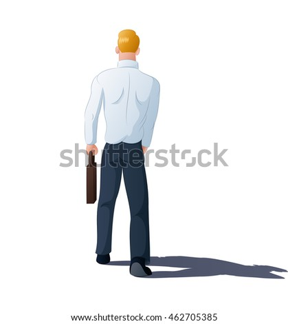 illustration of a businessman walking away on isolated white background