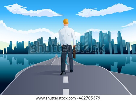 illustration of a businessman walking to city background