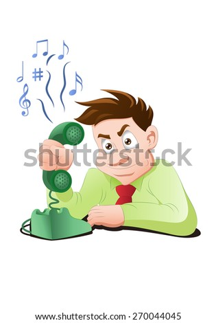 illustration of a businessman with busy telephone tone on isolated white background - stock photo