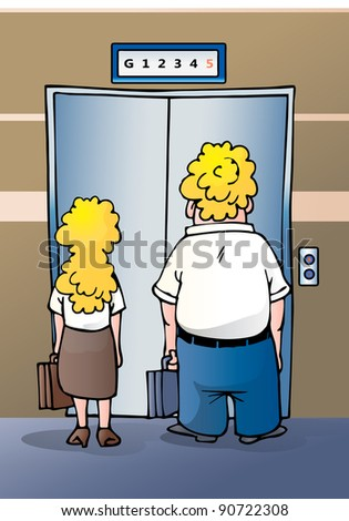 illustration of a businesswoman and businessman stand impatiently as they wait for an elevator at the office - stock photo