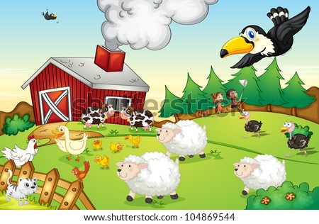 Illustration of a busy farm scene - EPS