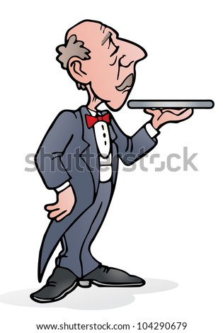 illustration of a butler with empty tray in his hand on isolated white background - stock photo