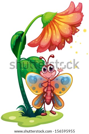 Illustration of a butterfly waving below the giant flower on a white background