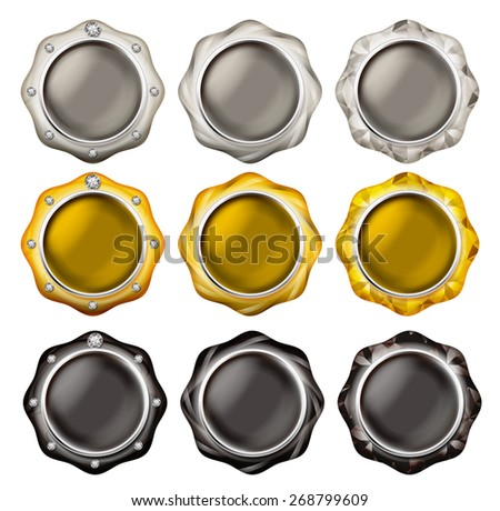 Illustration of a button of the jewel. / White gold, yellow, black - stock photo
