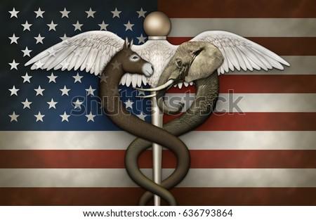 Illustration Caduceus Symbol Medicine Elephant Donkey Stock