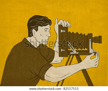 illustration of a Cameraman with vintage camera shooting side view done in the style of cartoon style done in the style of Japanese wood block print