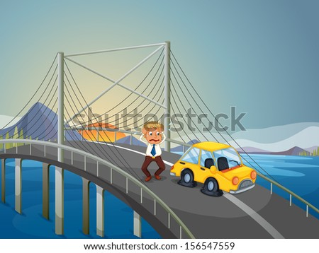 Illustration of a car accident at the bridge
