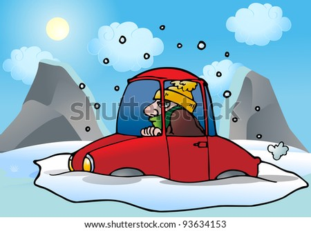 illustration of a car stuck in the snow and ice  in road - stock photo