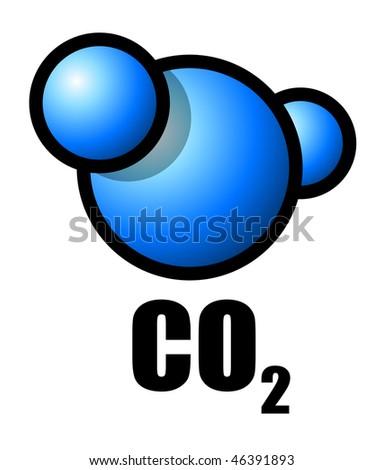Illustration of a carbon dioxide molecule - stock photo