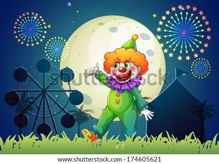 Illustration of a carnival with a funny clown - stock photo