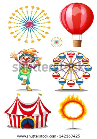 Illustration of a carnival with clown on a white background - stock photo