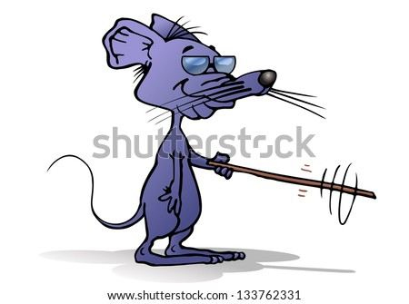 illustration of a cartoon a blind grey Mouse with glasses isolated on white background - stock photo