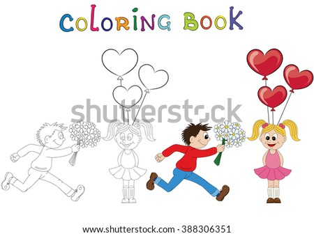 Illustration of a cartoon boy running with a bunch of flowers and cartoon girl with balloons. Valentine's Day