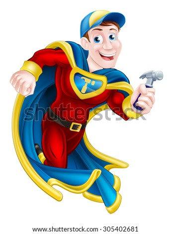 Illustration of a cartoon builder, handyman or carpenter superhero mascot holding a hammer - stock photo
