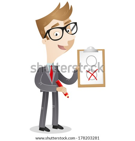 Illustration of a cartoon businessman holding a clipboard and red pencil marking the applicable item on the paper. - stock photo