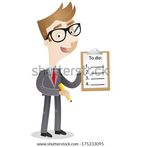 Illustration of a cartoon businessman holding a pencil and a clipboard with a to-do list (Vector version also available in my gallery). - stock photo