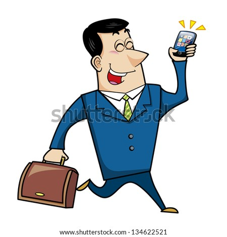illustration of a cartoon businessman with a briefcase and cell phone.
