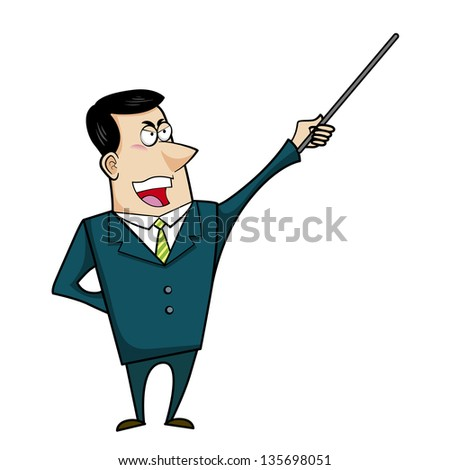illustration of a cartoon businessman with a pointer stick.