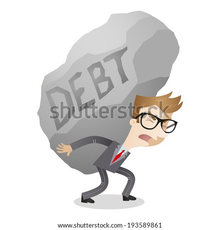 Illustration of a cartoon character: Businessman carrying huge rock labeled debt. - stock photo