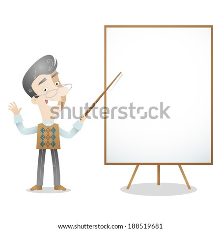 Illustration of a cartoon character: Senior gray haired professor teacher pointing at blank screen.