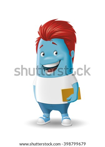 Illustration of a Cartoon character with a book - stock photo