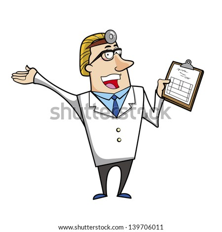 illustration of a cartoon doctor with a medical chart clipboard.