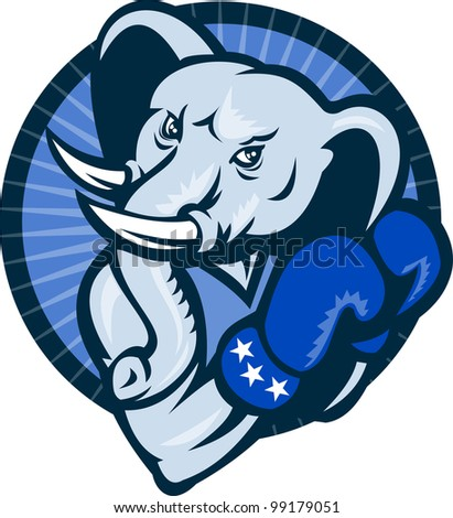 Illustration of a cartoon elephant Democrat mascot wearing boxing gloves set inside circle.