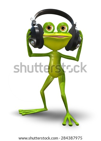 Illustration of a cartoon frog in headphones - stock photo