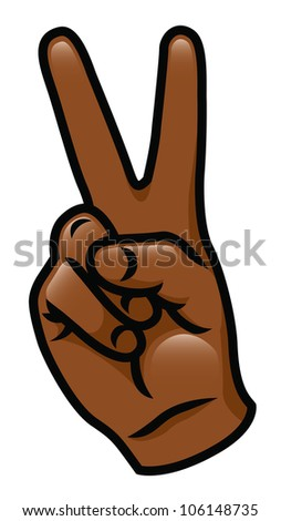 Illustration of a cartoon hand giving a peace sign. Raster.