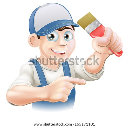 Illustration of a cartoon painter decorator in a cap pointing - stock photo