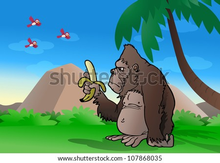 illustration of a cartoon silver back gorilla observe banana and ready to eat it on nature background - stock photo