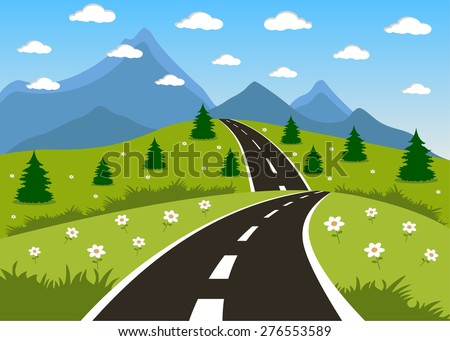 Illustration of a cartoon summer or spring road to mountains landscape - stock photo