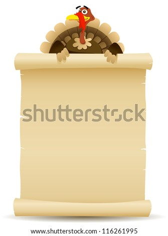 Illustration of a cartoon turkey character holding parchment scroll menu for thanksgiving holidays and white meat food background - stock photo